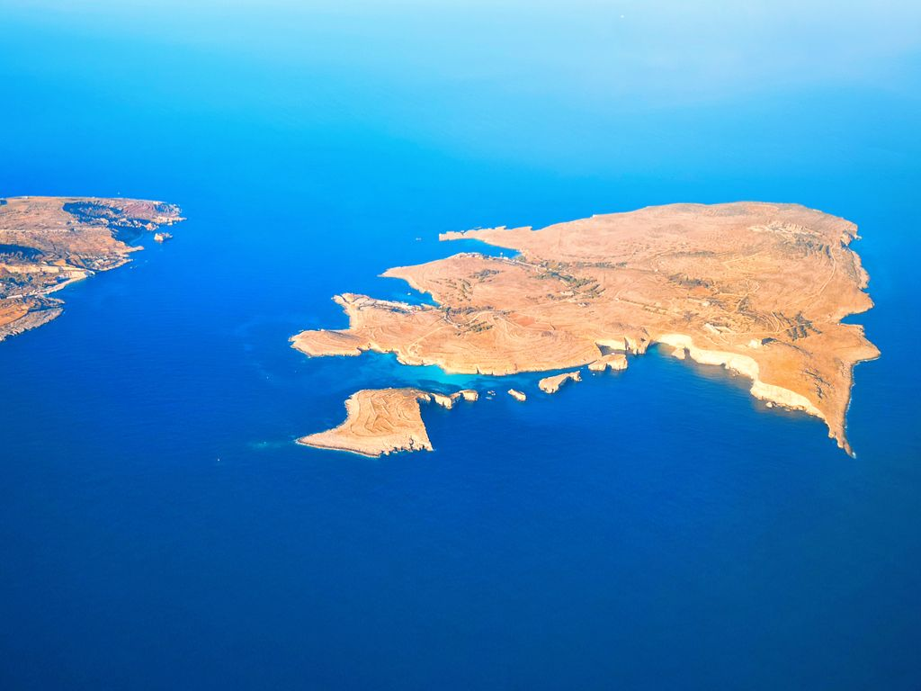 Aerial view of Comino