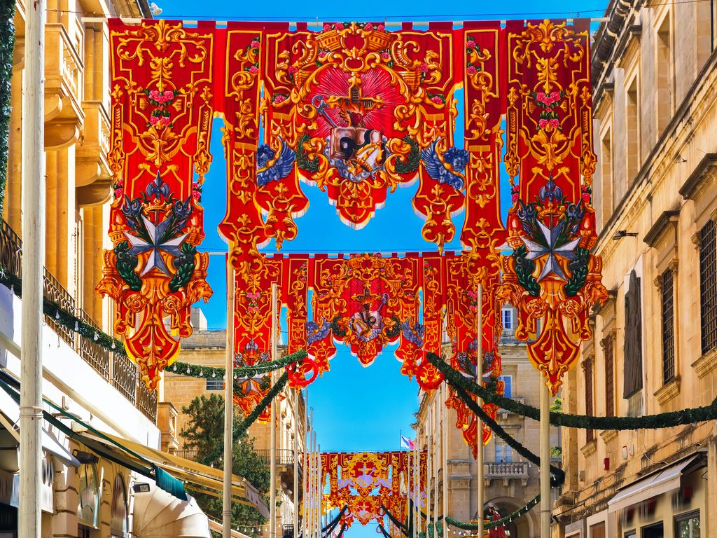 St Augustine Feast in the old town of Valletta